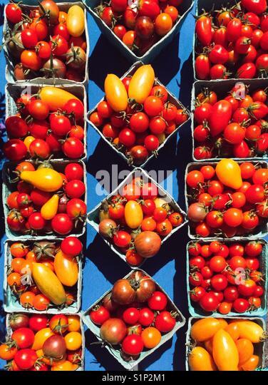 Homegrown Tomaten bei Farmers Market Stockbild