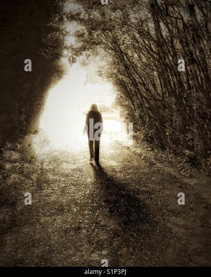 Wandern in das Licht Stockbild