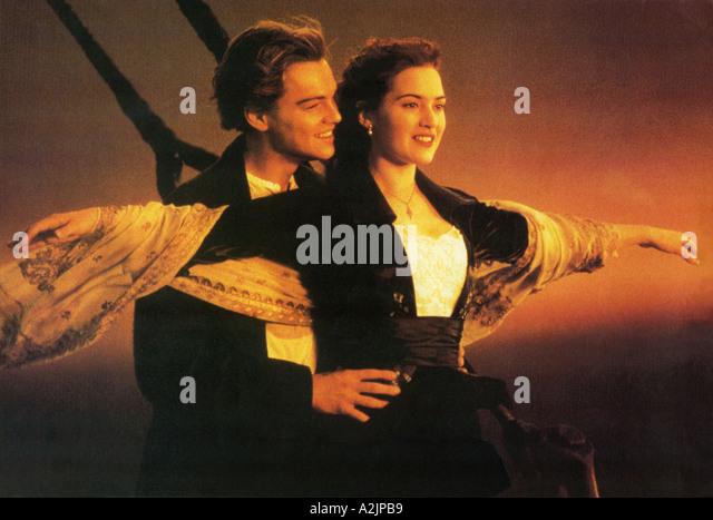 TITANIC ganadora del Oscar 1997 película protagonizada por Leonardo DiCaprio y Kate Winslet Imagen De Stock