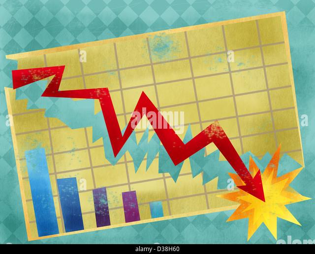 Gráfico de líneas que muestra la economía crash Imagen De Stock