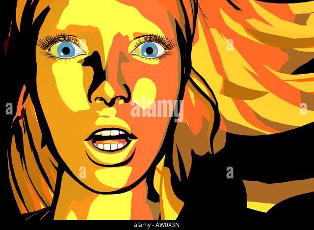 Illustration d'une femme, Close up Photo Stock