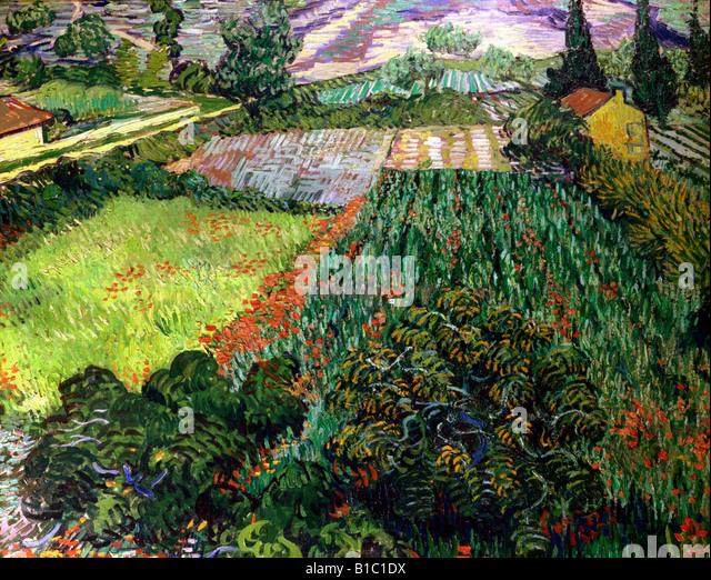 """Beaux-arts, Vincent van Gogh, (1853 - 1890), peinture, """"champ de coquelicots,', 1889 / 1890, huile sur Photo Stock"""