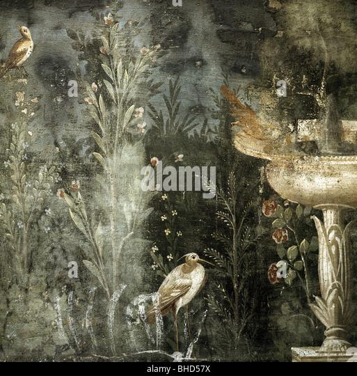 Beaux-arts, Antiquité, Empire romain, Pompéi, détail d'une scène en plein air, jardin, Chambre Photo Stock