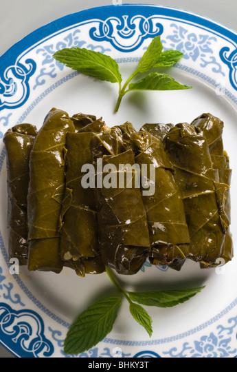 Les feuilles de vigne farcies Beyrouth Liban Moyen Orient Photo Stock