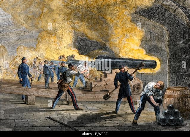 Gros canons de Fort Sumter de Fort Moultrie incendie Retour au début de la guerre civile, 1861 Photo Stock