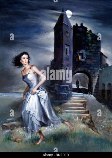Femme en marche avec un château en arrière-plan Photo Stock