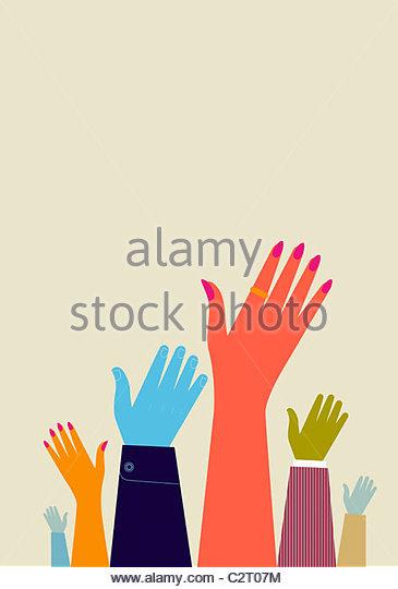 Les gens lèvent la main Photo Stock