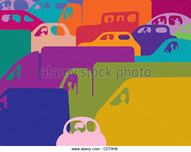 Embouteillage coloré de voitures et camions Photo Stock