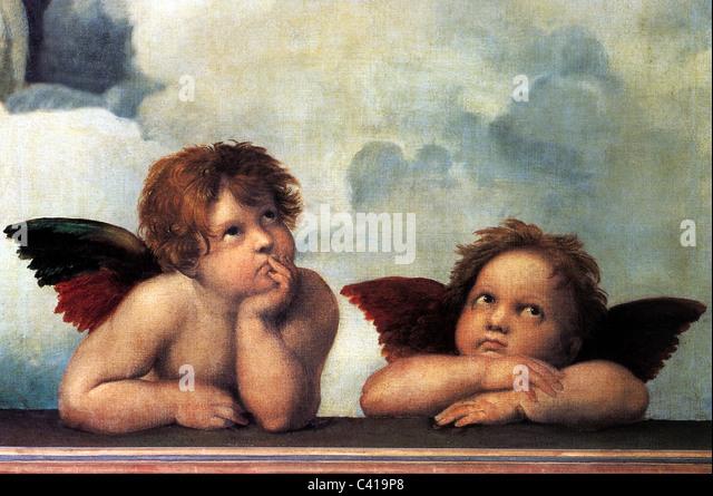 Beaux-arts, Raphael, Santi: 'Les Anges de la Madone Sixtine', d'un détail de la peinture Photo Stock