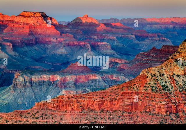 Coucher du soleil à mère point, South Rim, le Parc National du Grand Canyon (Arizona, USA). Technique Photo Stock