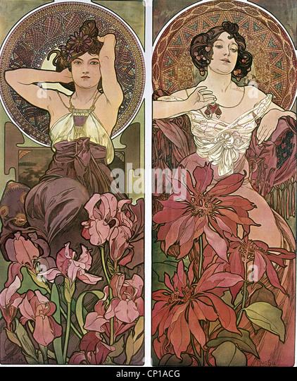 Beaux-arts, Mucha, Alfons (1860 - 1939), affiche, vers 1900, deux femmes, assis, des fleurs, des cheveux, de l'Art Photo Stock