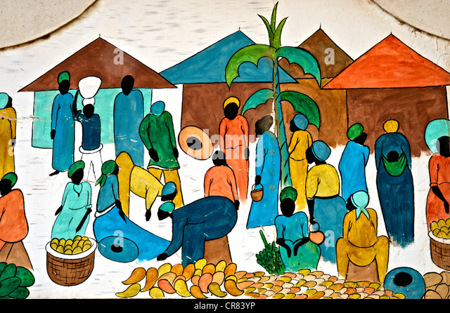 Détail de l'artistique dessin coloré représentant la vie africaine Photo Stock