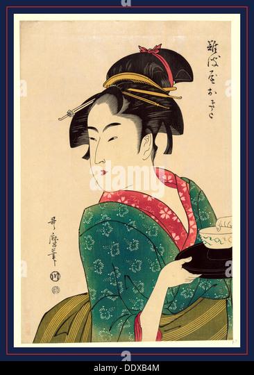 Naniwaya okita, Okita de Naniwa-ya. [1793] Plus tard, imprimés, 1 tirage: gravure sur bois, couleur., Photo Stock