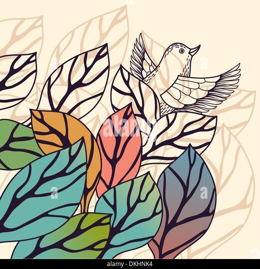 La nature de fond vecteur avec feuilles colorées Photo Stock