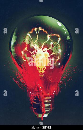 Ampoule avec le crâne à l'intérieur lumineux sur fond sombre,illustration peinture Photo Stock