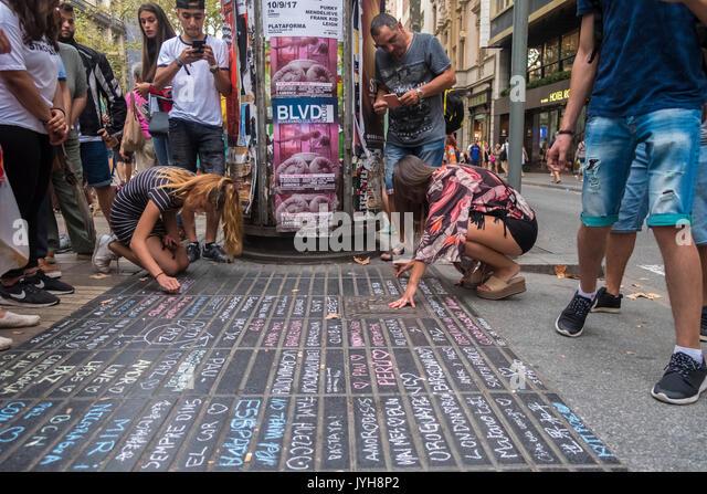 Barcelone, Espagne. Août 19, 2017. Le 19 août 2017 la ville de Barcelone a subi l'attaque terroriste Photo Stock
