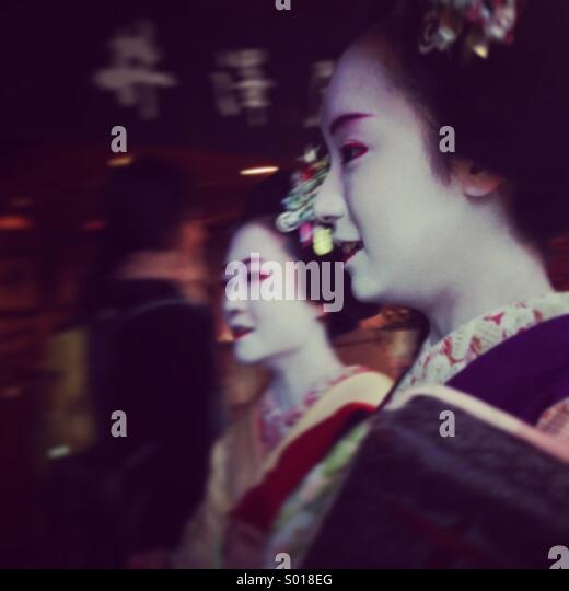 2 yukie sur leur chemin à Kyoto Photo Stock
