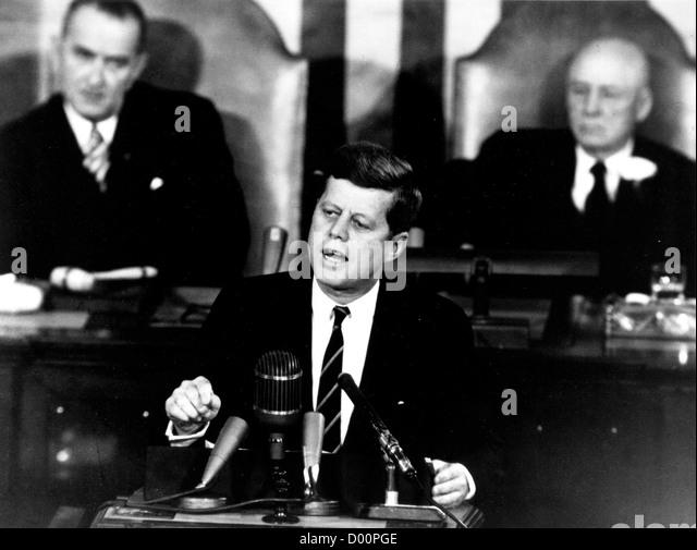 Il presidente John F Kennedy dando storico discorso Immagini Stock
