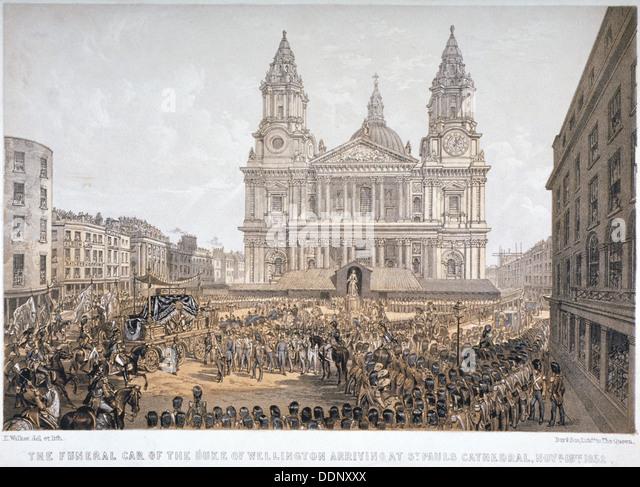 Esequie del Duca di Wellington, la Cattedrale di St Paul, città di Londra, 18 Novembre, 1852. Artista: Giorno Immagini Stock