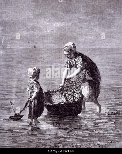 Artista holandês arte criança irmã mar barco moisés cesta cama de bebé berço berço Imagens de Stock