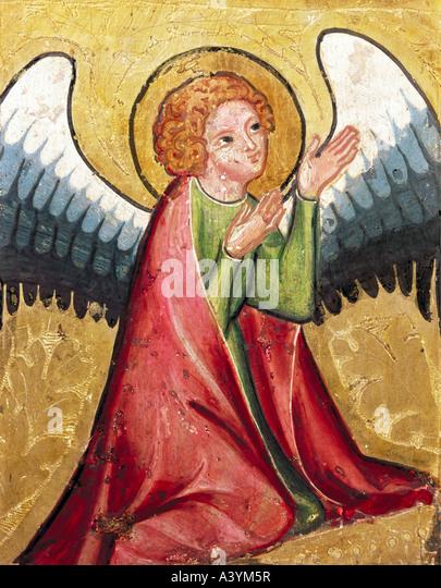 """""""Fine Arts, a arte religiosa, anjos, """"rezando anjo"""", pintura, Alemanha, circa 1330, óleo sobre Imagens de Stock"""