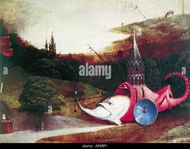 """""""Belas Artes, Hieronymus Bosch,, (circa 1450 - 1516), pintura, """"a tentação de Saint Anthony', Imagens de Stock"""