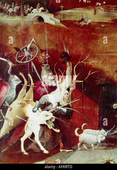"""""""Belas Artes, Hieronymus Bosch,, (circa 1450 - 1516), pintura, """"a tentação de Saint Anthony"""", Imagens de Stock"""