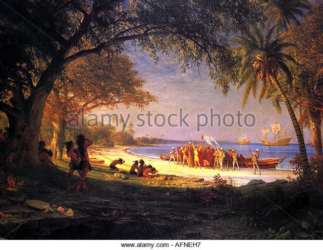 Colombo, Cristóvão, 1451 - 20.5.1506, Italiano explorer, cena, chegando em Guanahani, 12.10.1492, história Imagens de Stock