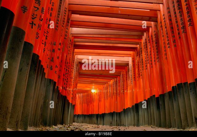 Portões Fushimi Inari Taisha Torii Santuário Quioto Honshu Japão Imagens de Stock