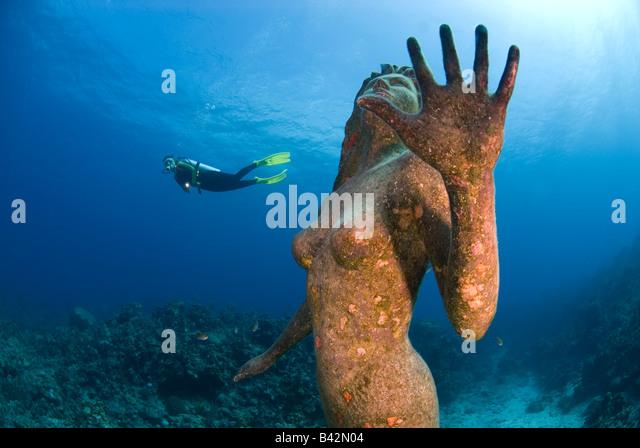 Mermaid Escultura e mergulhador Grand Cayman Mar das Caraíbas Ilhas Caimão Imagens de Stock