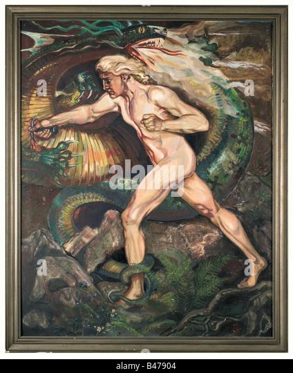 Mathias Guckenhan - Siegfried matando o dragão., Monumental pintura. Óleo sobre tela, no lado inferior Imagens de Stock