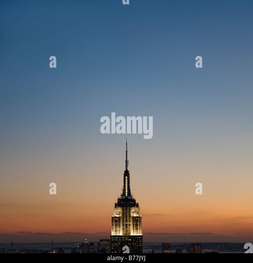 Sunset Vista do Empire State Building Imagens de Stock