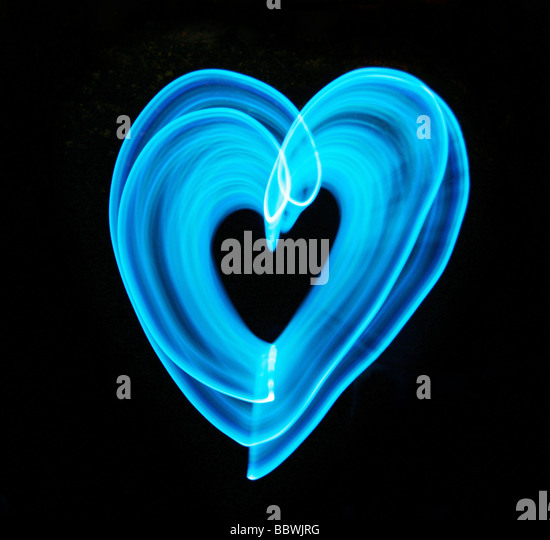 Luz azul coração Imagens de Stock