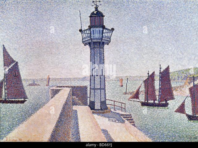 "Belas artes, Signac, Paulo, (1863 - 1935), pintura, ""Portrieux, Le Phare"", 1888, Rijksmuseum Kröller Imagens de Stock"