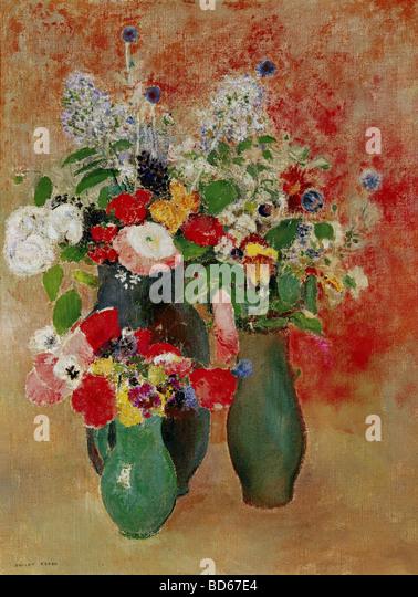 "Belas artes, Redon, Odilon, (22.4.1840 - 6.7.1916), pintura, ""flores ainda a vida"", Von der Heydt-Museum, Imagens de Stock"