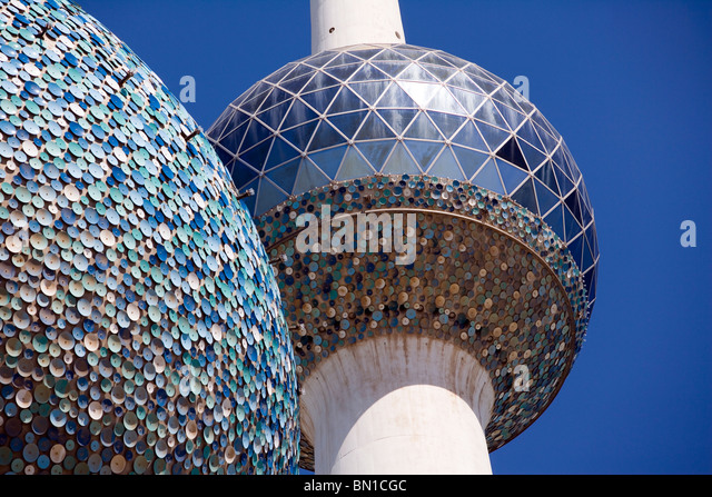 O Kuwait Towers, marco icónico, Estado do Kuwait, Oriente Médio Imagens de Stock