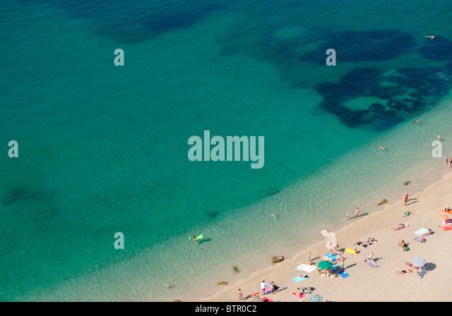 França, Villefranche-sur-Mer, Vista Praia Imagens de Stock