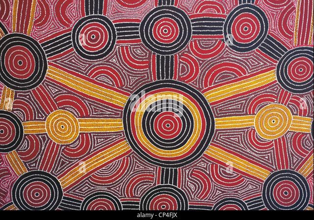 Austrália - Uluru-Kata Tjuta National Park. Pintura aborígene no hotel Sheraton. Imagens de Stock