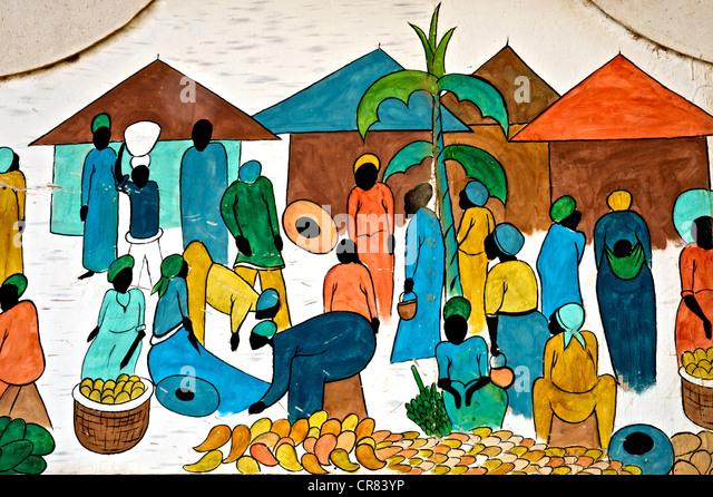 Detalhes artísticos de desenho colorido retratando a vida africana Imagens de Stock