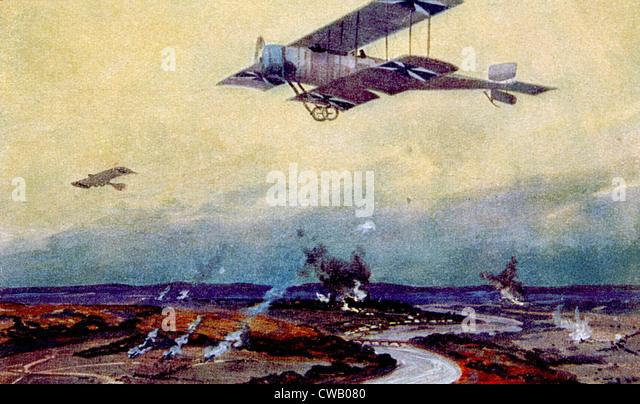 A I Guerra Mundial, biplano alemão em missões de reconhecimento sobre o Marne, pintura de Hans Rudolf Imagens de Stock