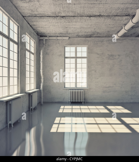 Sala vazia com o Windows (conceito loft) Imagens de Stock