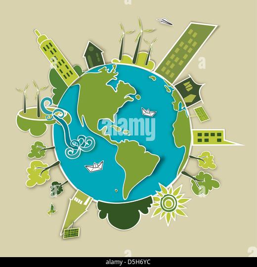 Go Green conceito mundo. A indústria do desenvolvimento sustentável com a conservação ambiental Imagens de Stock