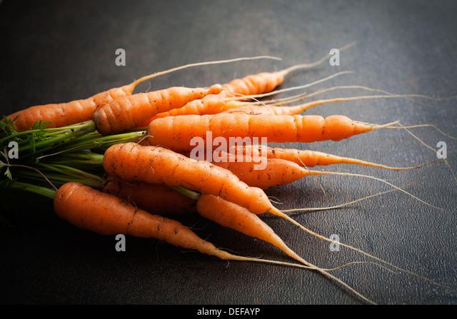 Bando de cenouras frescas sobre fundo escuro Imagens de Stock