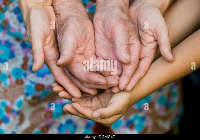 Mãos de um adulto, uma mulher idosa e uma criança Imagens de Stock