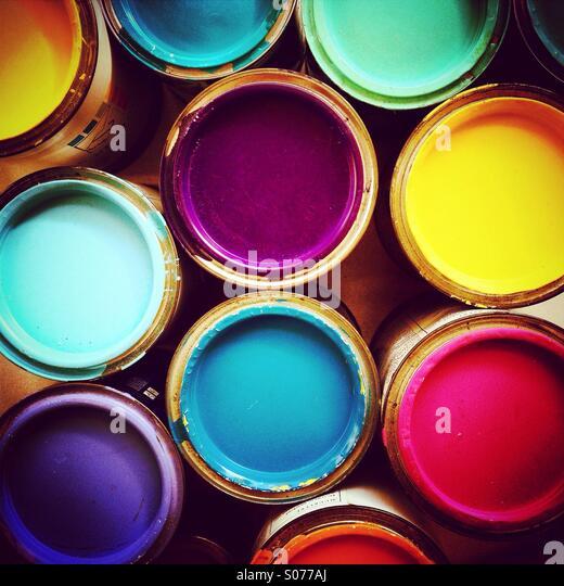Recipientes de tinta, visualizaram a partir de cima Imagens de Stock
