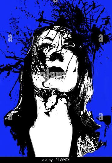 Se o retrato de uma mulher com fundo azul Imagens de Stock