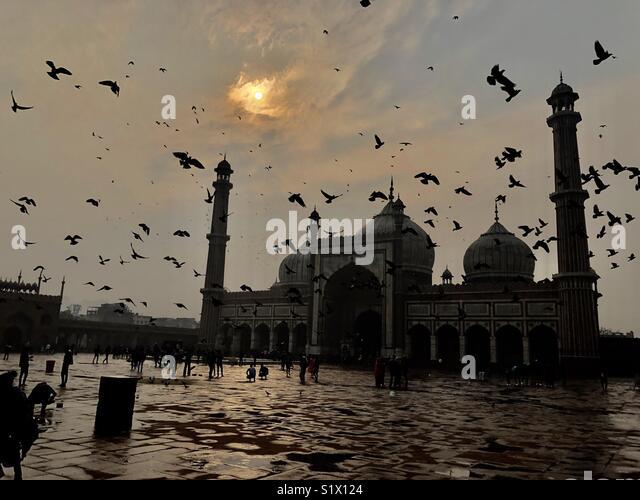 """Pôr-do-sol, nuvens e pássaros voando Visualizar histórico de """"Jama Masjid'Delhi ,Índia Imagens de Stock"""